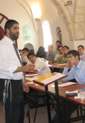 Rabbi Yoni teaching Jewish philosophy in Jerusalem.